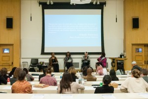 "UCLA's Office of Equity, Diversity and Inclusion held its first event of the week on sexual violence and sexual harassment with a panel called ""Before #TimesUp and #MeToo: Quid Pro Quo and Hostile Work Environment: How Black Women Shaped the Development of Sexual Harassment Law"" on Monday.  (Eda Gokcebay/Daily Bruin)"
