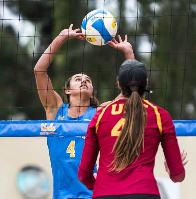 Junior Sarah Sponcil and partner sophomore Lily Justine were named this week's Pac-12 Beach Volleyball Pair of the Week. The duo extended its win streak to 10 this past weekend at the Stanford West Coast Classic and has only dropped one set in its last six matches.(Habeba Mostafa/Daily Bruin)
