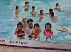 "Alumna Ana Fernandez paints everyday scenes from around San Antonio. In ""Collier Pool,"" she captures a Latino family going for a swim in a public pool. (Courtesy of Ana Fernandez)"