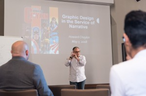 "Comic book creator Howard Chaykin spoke at the workshop, ""Graphic Design in the Service of Narrative,"" part of ComicCon 2018. The event, sponsored by UCLA's Center for Medieval and Renaissance Studies, spanned Monday and Tuesday at Royce Hall. (Daniel Leibowitz/Daily Bruin staff)"