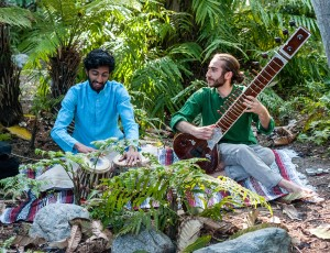 "Ram Kaundinya, a third-year cognitive science student will play the tabla alongside Justin Inbar, a fourth-year ethnomusicology student who will play the sitar, at Saturday's ""Ethnomusicology in the Garden"" event. The performance will take place in the The Nest amphitheater in the UCLA Mildred E. Mathias Botanical Gardens.  (Farida Saleh/Daily Bruin)"