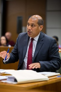 Victor Avila is the deputy district attorney prosecuting a case involving the 2015 murder of a UCLA student. Avila and Debra Werbel, the defense attorney, gave their opening statements and questioned witnesses during the trial's first day Tuesday. (Daily Bruin file photo)