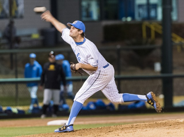 There was a time when it seemed like Jake Bird's Bruin career would end last season, but the senior has returned to UCLA after not being drafted last summer. The righty has settled into a spot as the Bruins' Friday night starter in 2018. (Isabelle Roy/Daily Bruin senior staff)