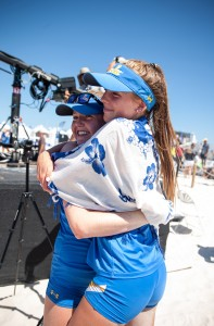 Junior Izzy Carey and freshman Megan Muret put the Bruins on the board in the NCAA championship with a three-set win on court five. Both players will return to the lineup next season as UCLA aims for another title. (Aubrey Yeo/Daily Bruin senior staff)