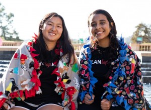 Camille Ng, left, found Hugs in a Blanket in 2016 to help underprivileged communities. Melissa Palacios, right, is one of the initial signatories who helped Ng found the club. (Jocelyn Dao/Daily Bruin)