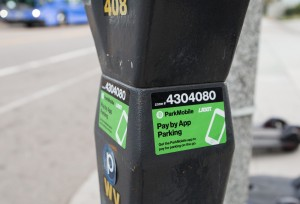 ParkMobile allows drivers to make parking reservations, pay for parking and extend parking times at all metered parking spaces in Westwood on their phones. (Amy Dixon/Photo editor)