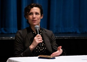 Alicia Oeser (pictured), the director of UCLA Campus Assault Resources & Education, was one of several panelists that discussed how sexual violence and Title IX policy affect the lives of UCLA students at a town hall Wednesday. (Ashley Kenney/Daily Bruin)