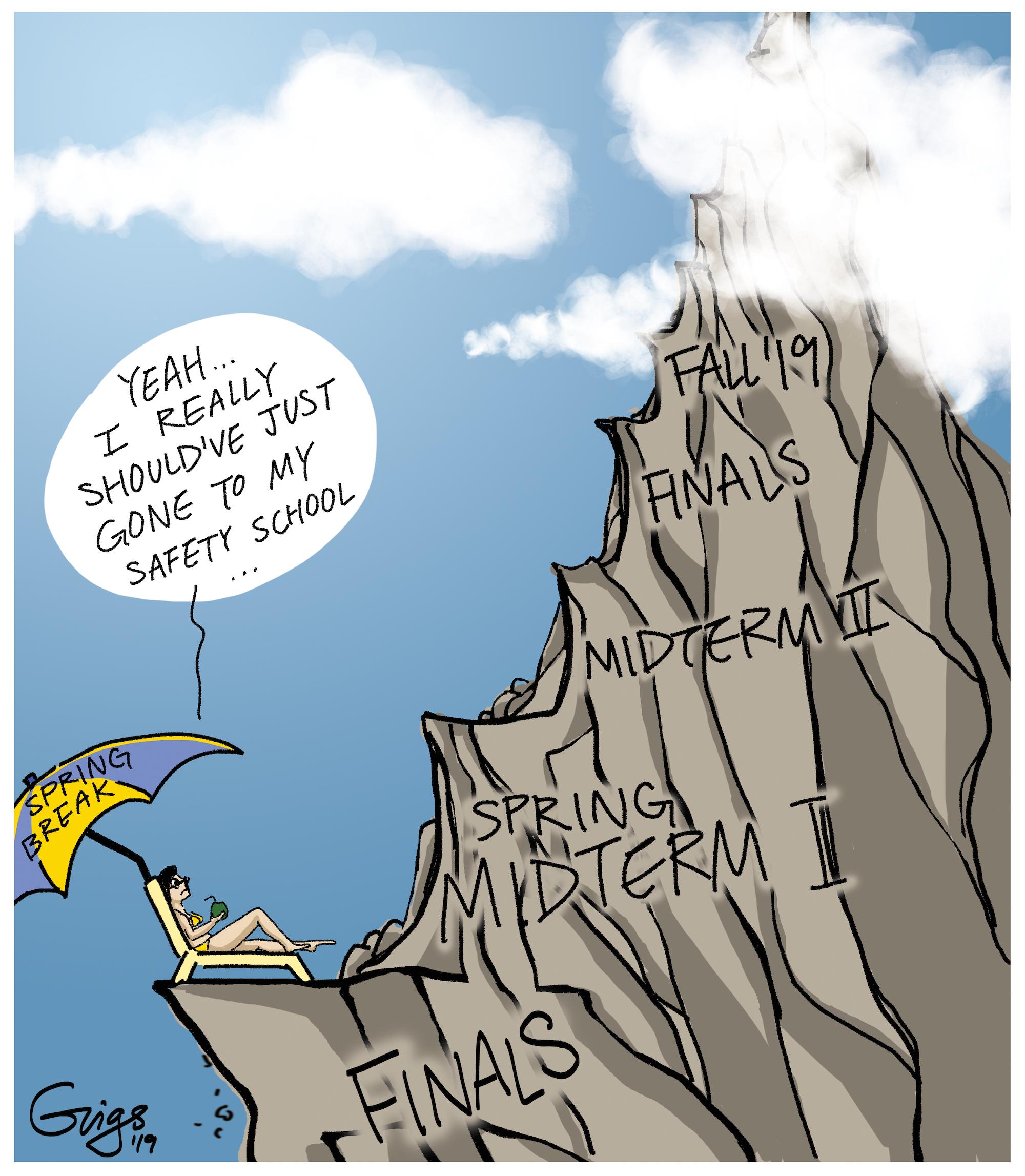 Editorial Cartoon The Climb Never Stops Daily Bruin