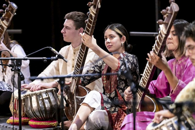 The Music of India Ensemble will perform as part of the Westwood Village Concert Series on Thursday. The performance will feature a sitar, which is typically used in Indian classical music. (Courtesy of Dan Neuman)