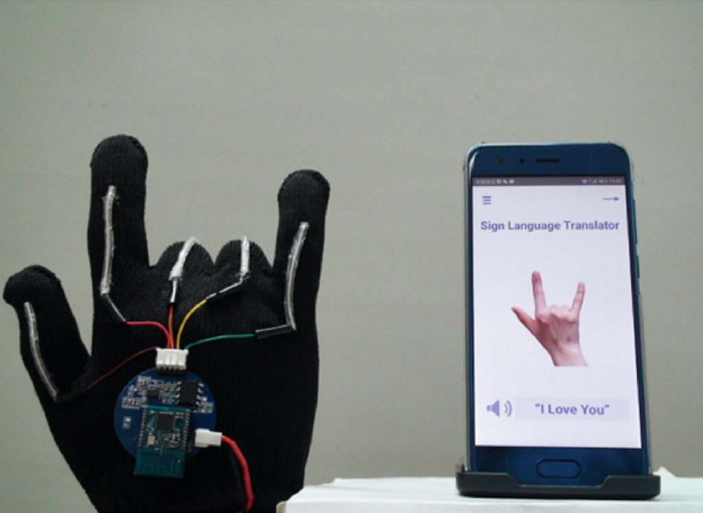 The device consists of a glove with stretchable sensors that detect hand movements. These are sent as wireless signals to an app that translates them into spoken English. (Courtesy of Jun Chen)