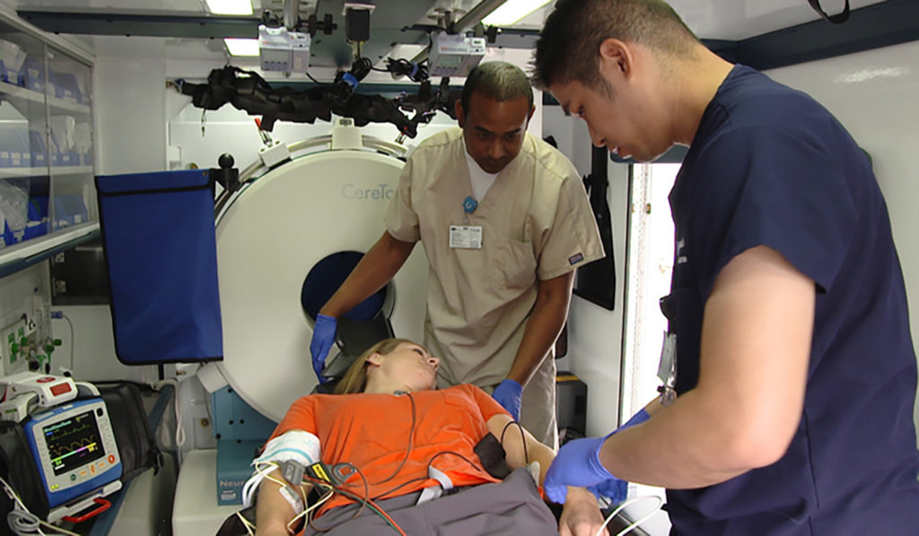 Patients can begin treatment inside the Mobile Stroke Unit, where the medical team can perform tests and conduct CT scans. (Courtesy of UCLA Health)