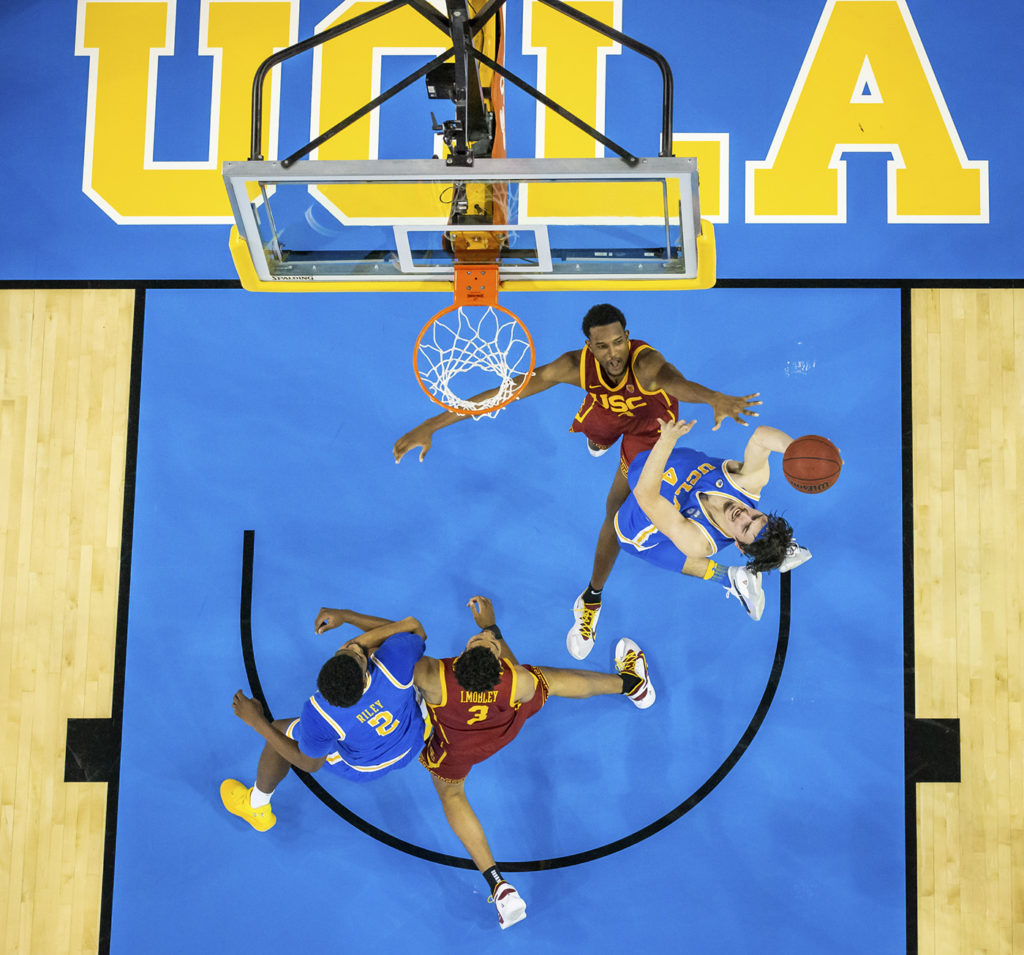 During the men's basketball game between UCLA and USC at Pauley Pavilion on March 6, 2021.