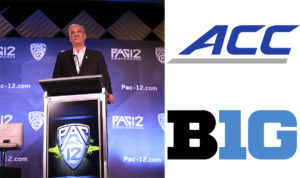 (Clockwise from left: Courtesy of John McGillen/Pac-12, Creative Commons photos by Atlantic Coast Conference and Big Ten Conference via Wikimedia Commons)