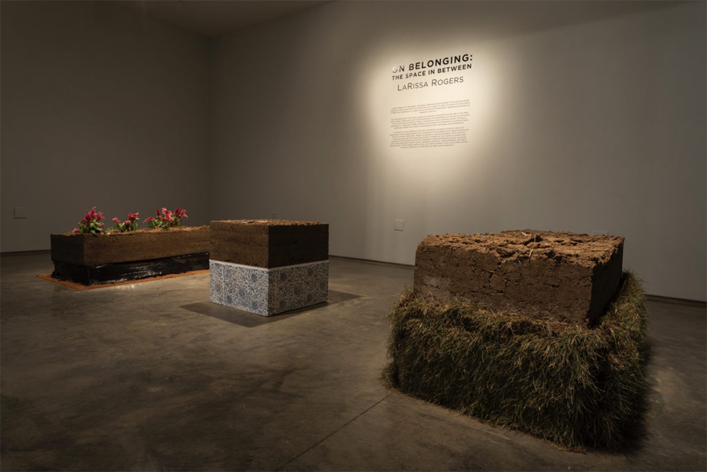 """MFA student LaRissa Rogers&squot; show, """"On Belonging: The Space In Between,"""" involves three different formations of soil and other materials. (Courtesy of Stacey Evans/Second Street Gallery)"""
