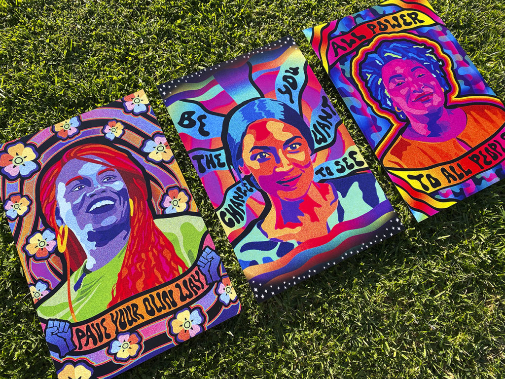 Shochat said his print shop was partly inspired by the 2020 presidential election, as he made prints of Cori Bush, Alexandria Ocasio-Cortez and Stacey Abrams. (Courtesy of Kyron Shochat)