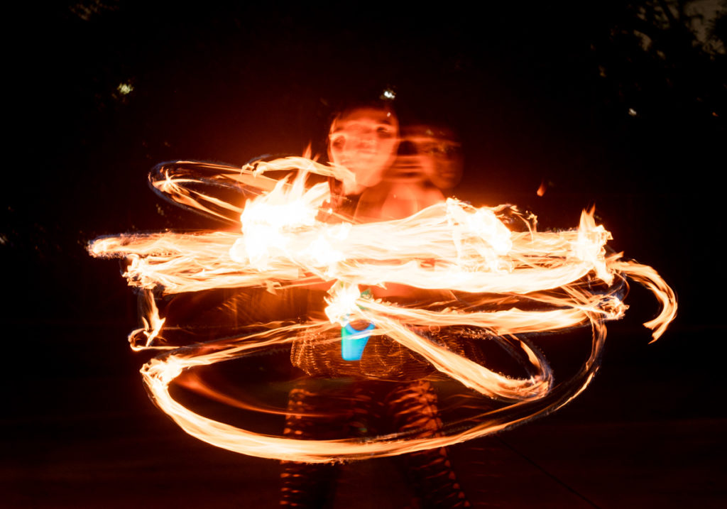 In the transition between the flow and fire arts, Bohn said she's primarily self-taught, exploring performance on her own and observing other performers in person and online. (Lauren Man/Daily Bruin senior staff)