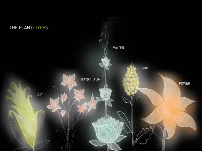 A Design | Media Arts course produces mechanical flowers that change form according to environmental statistics. Above are the various types of flowers.