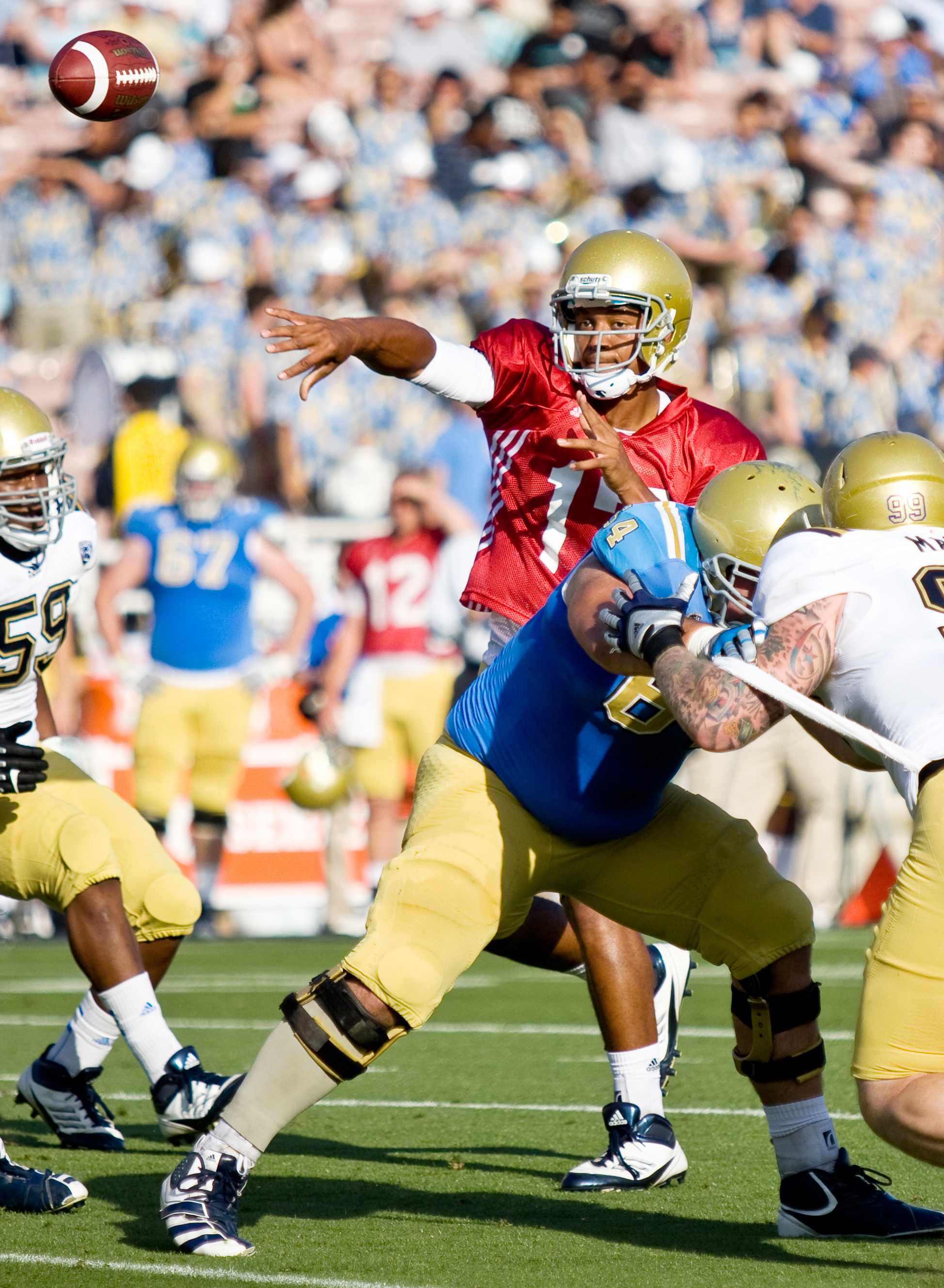 Rising redshirt freshman quarterback Brett Hundley is competing with returners Kevin Prince and Richard Brehaut to be the starting quarterback for the Bruins in the 2012-2013 season.